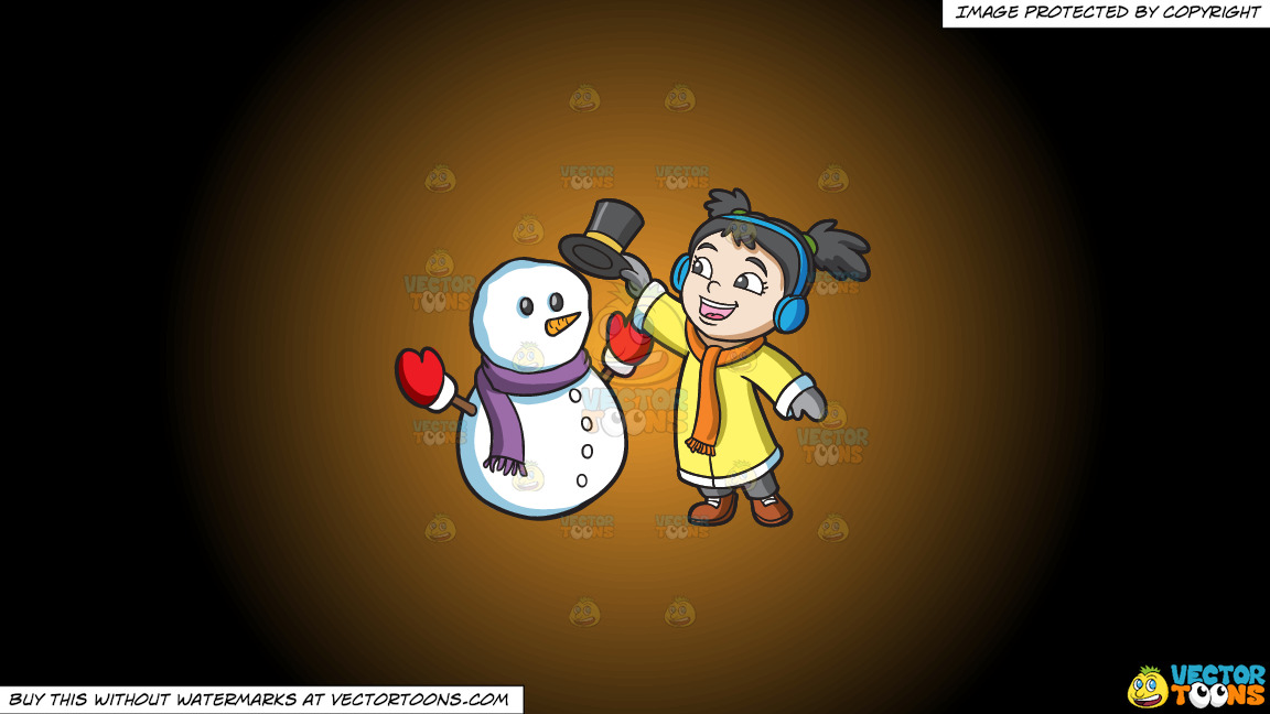 A Girl Placing The Hat Of A Snowman On A Orange And Black Gradient Background thumbnail