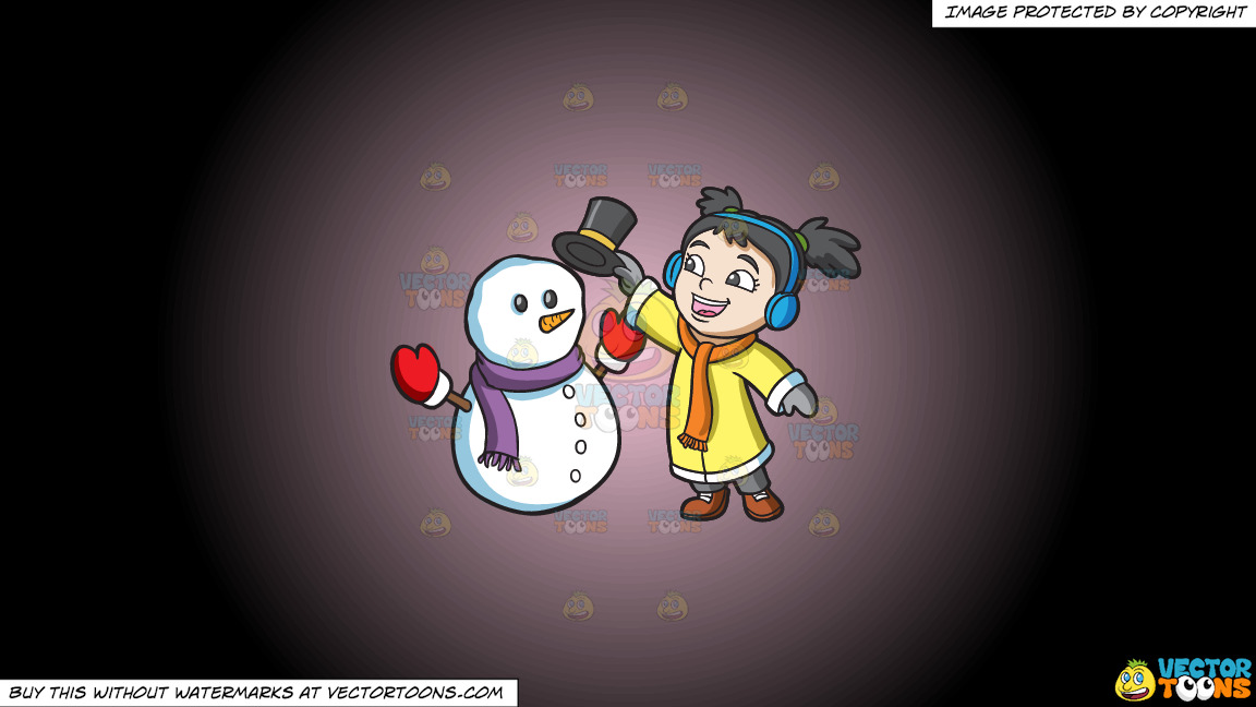 A Girl Placing The Hat Of A Snowman On A Pink And Black Gradient Background thumbnail