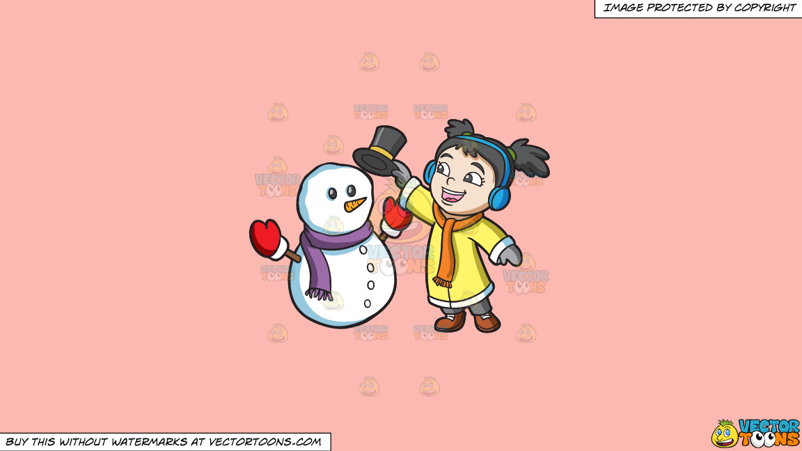 A Girl Placing The Hat Of A Snowman On A Solid Melon Fcb9b2 Background thumbnail