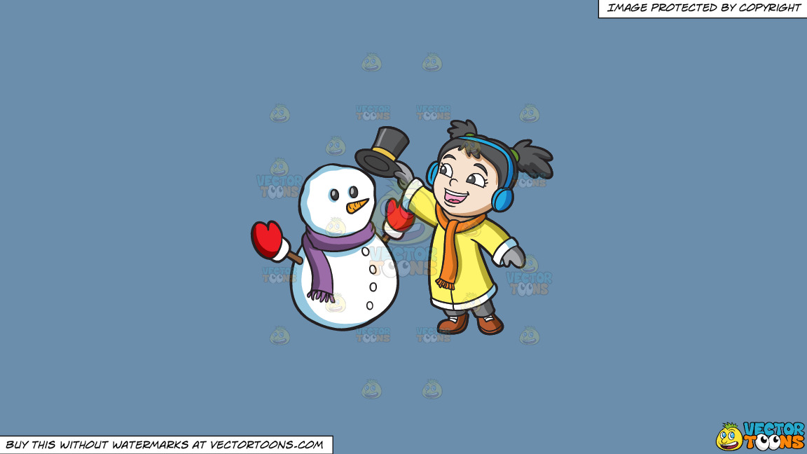 A Girl Placing The Hat Of A Snowman On A Solid Shadow Blue 6c8ead Background thumbnail
