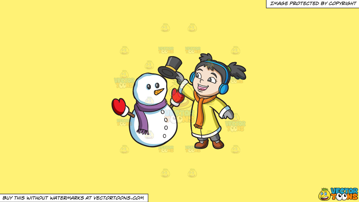 A Girl Placing The Hat Of A Snowman On A Solid Sunny Yellow Fff275 Background thumbnail