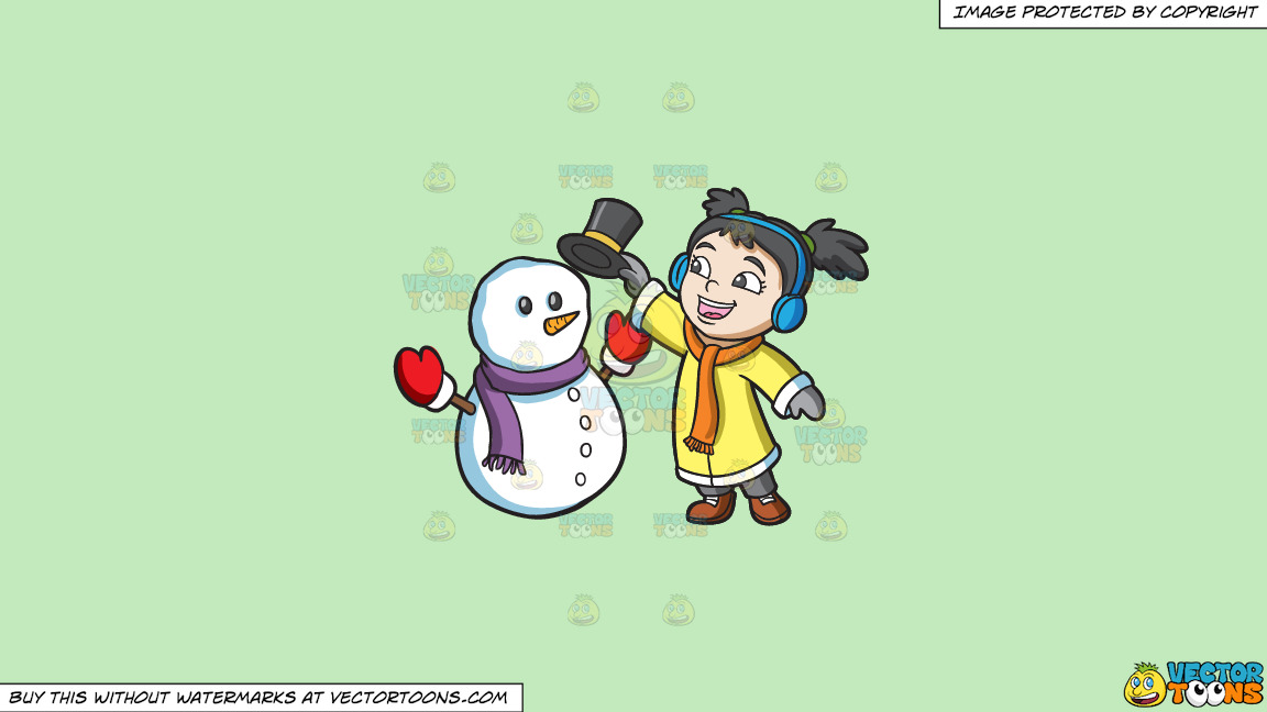 A Girl Placing The Hat Of A Snowman On A Solid Tea Green C2eabd Background thumbnail