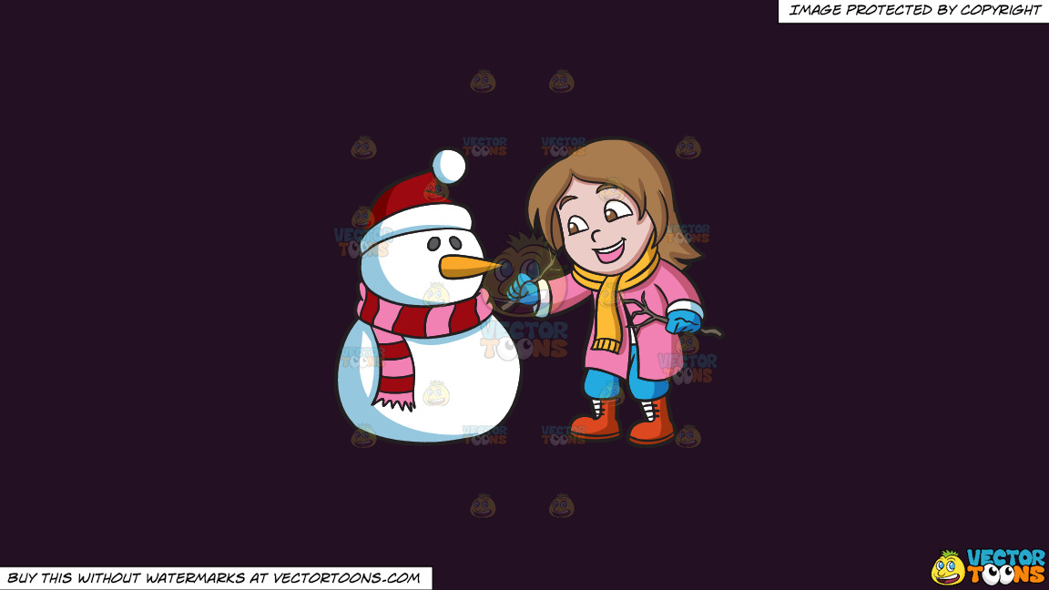 A Girl Placing Tree Stems To Make The Arms Of A Snowman On A Solid Purple Rasin 241023 Background thumbnail
