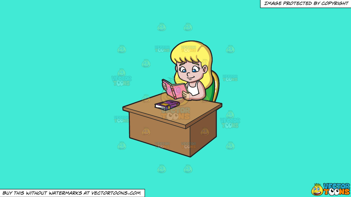 A Girl Reading A Good Book On A Solid Turquiose 41ead4 Background thumbnail
