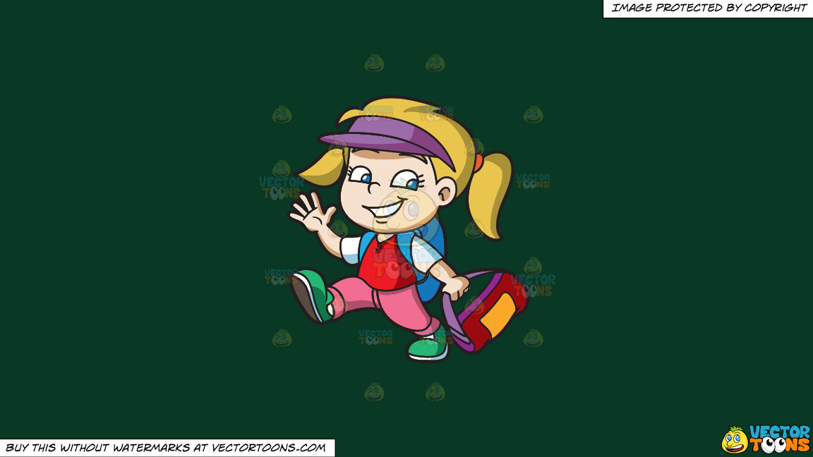 A Girl Ready To Go To Summer Camp On A Solid Dark Green 093824 Background thumbnail