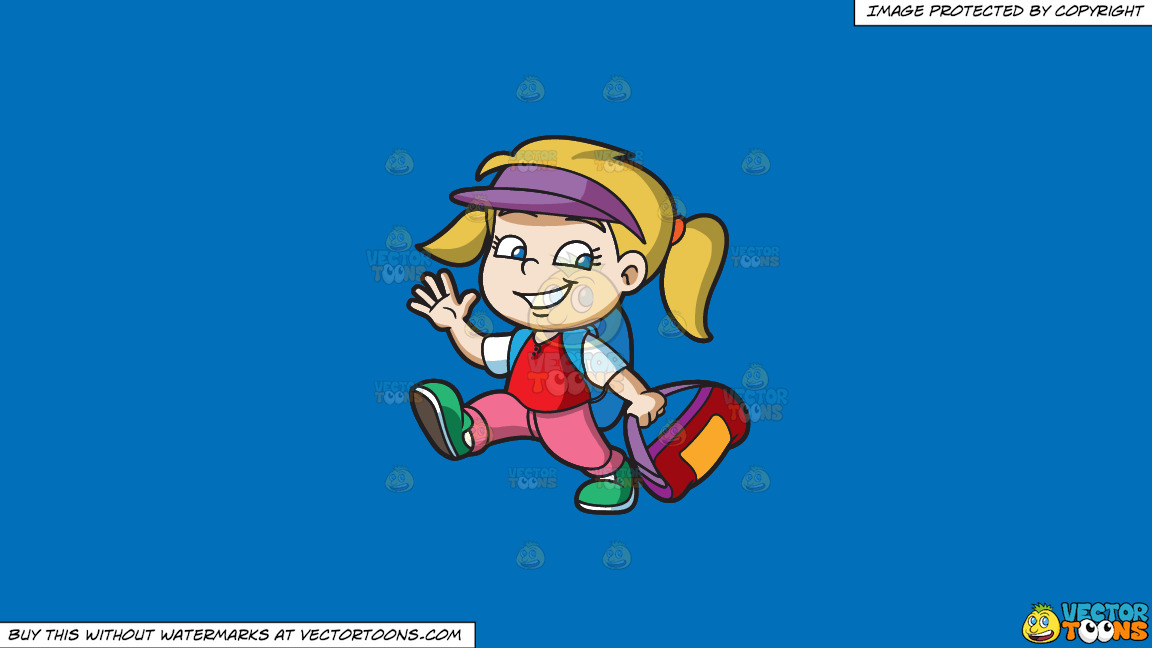 A Girl Ready To Go To Summer Camp On A Solid Spanish Blue 016fb9 Background thumbnail