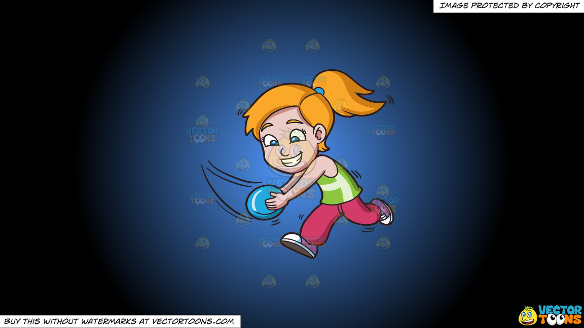A Girl Running To Catch A Flying Disc On A Blue And Black Gradient Background thumbnail