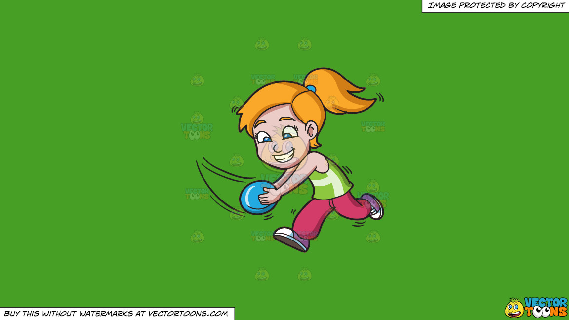 A Girl Running To Catch A Flying Disc On A Solid Kelly Green 47a025 Background thumbnail