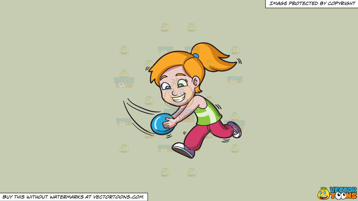 A Girl Running To Catch A Flying Disc On A Solid Pale Silver C6ccb2 Background thumbnail