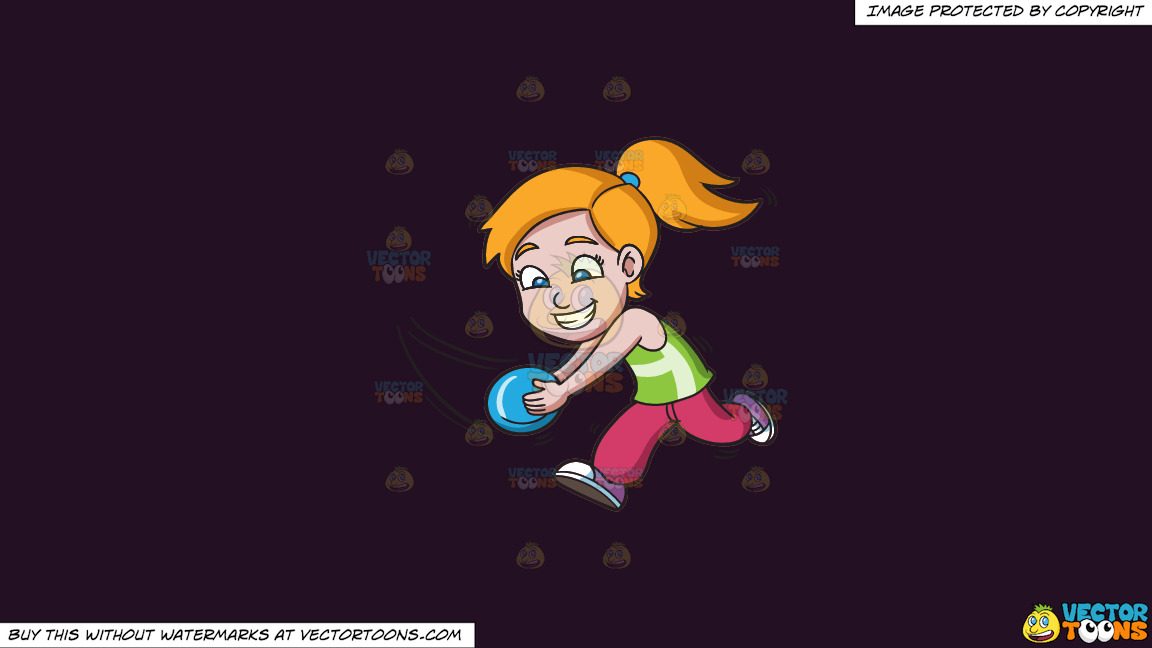 A Girl Running To Catch A Flying Disc On A Solid Purple Rasin 241023 Background thumbnail
