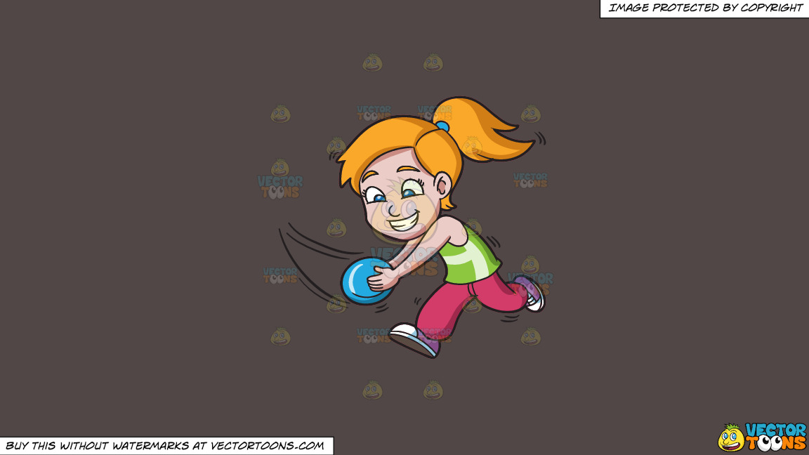 A Girl Running To Catch A Flying Disc On A Solid Quartz 504746 Background thumbnail