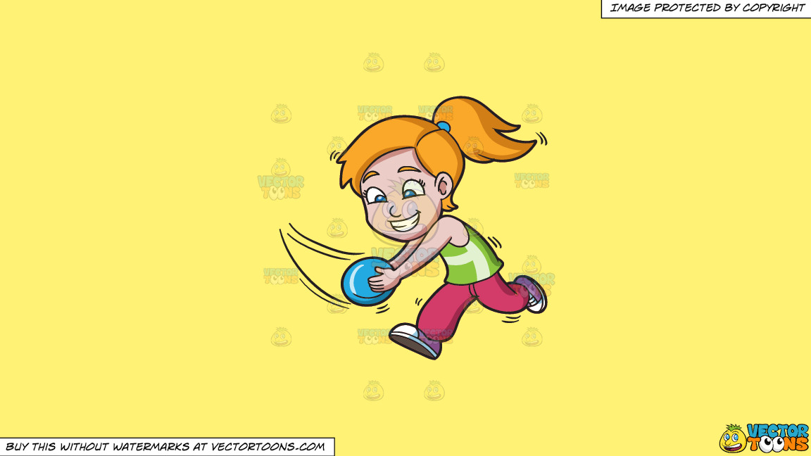 A Girl Running To Catch A Flying Disc On A Solid Sunny Yellow Fff275 Background thumbnail