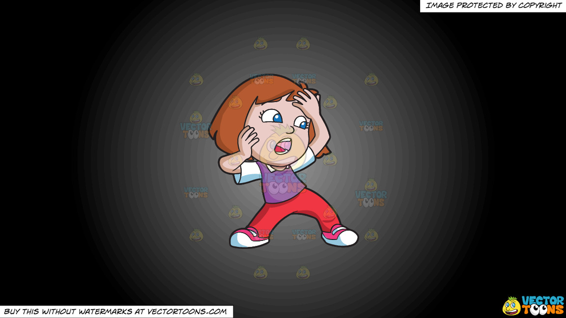 A Girl Shouting In Shock And Terror On A Grey And Black Gradient Background thumbnail