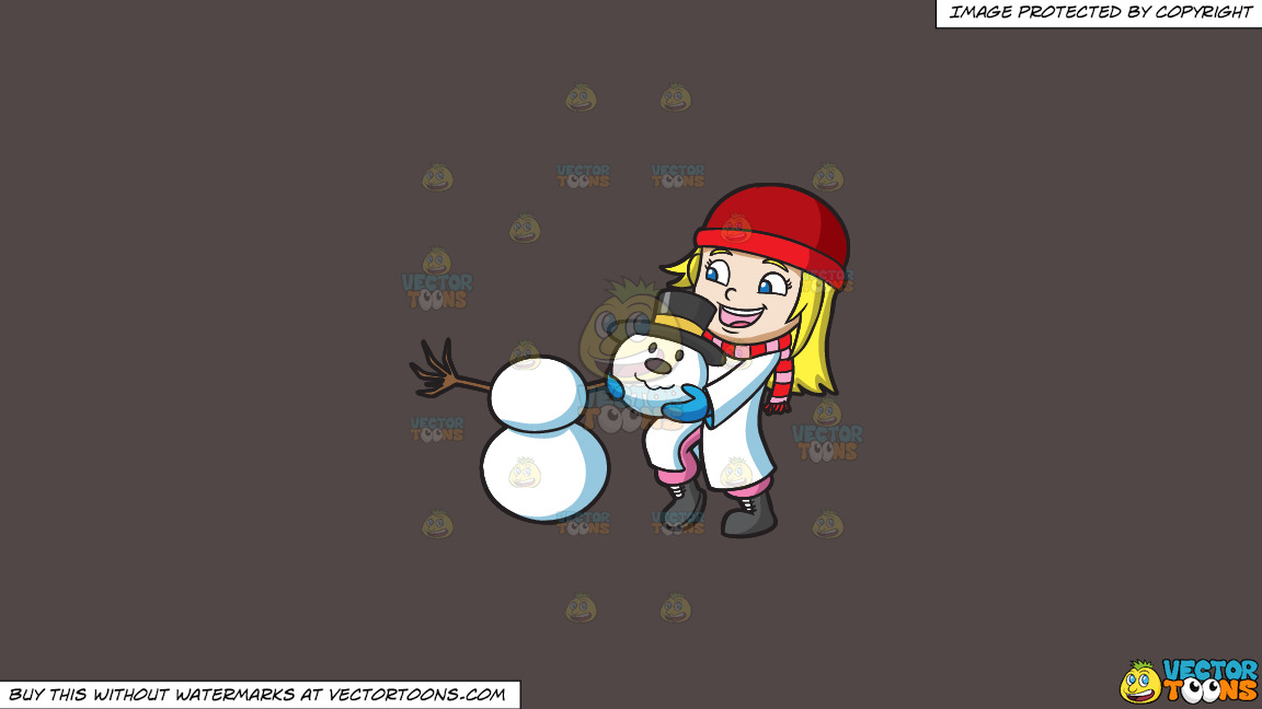 A Girl Stacking The Head Of A Snowman On A Solid Quartz 504746 Background thumbnail
