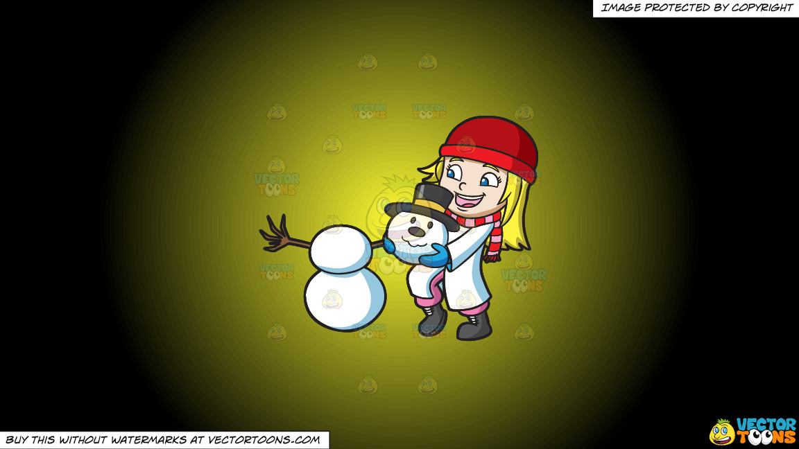 A Girl Stacking The Head Of A Snowman On A Yellow And Black Gradient Background thumbnail