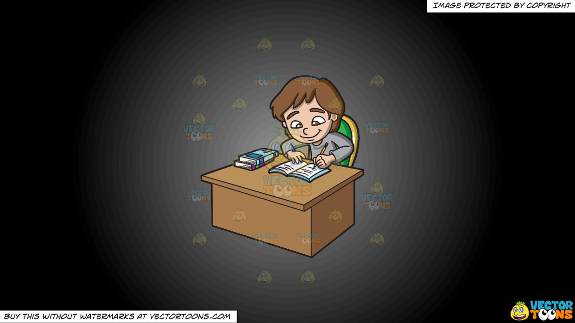 A Girl Studying Happily On A Grey And Black Gradient Background thumbnail