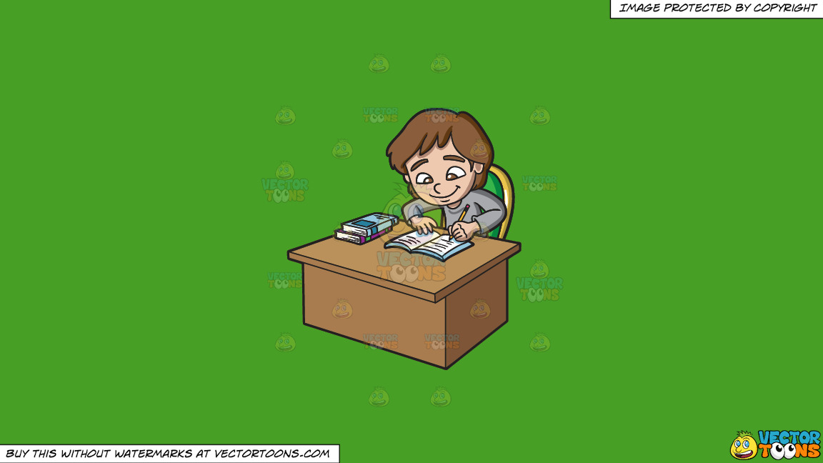 A Girl Studying Happily On A Solid Kelly Green 47a025 Background thumbnail