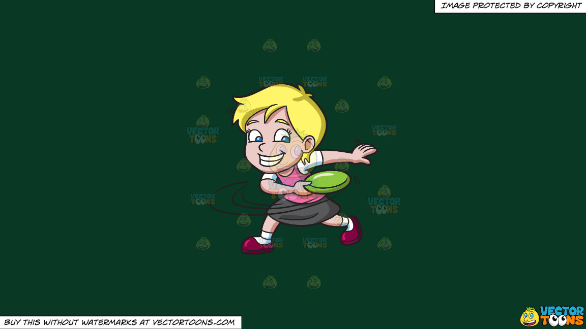 A Girl Swings Before Throwing A Frisbee On A Solid Dark Green 093824 Background thumbnail