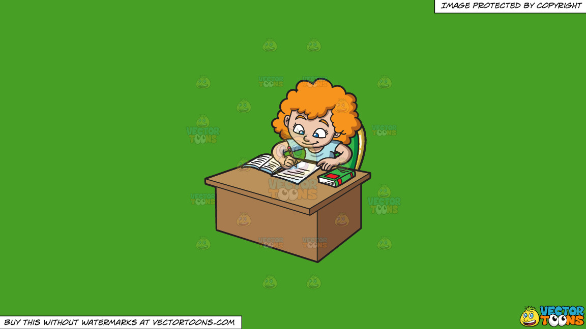 A Girl Taking Down Notes From The Book On A Solid Kelly Green 47a025 Background thumbnail