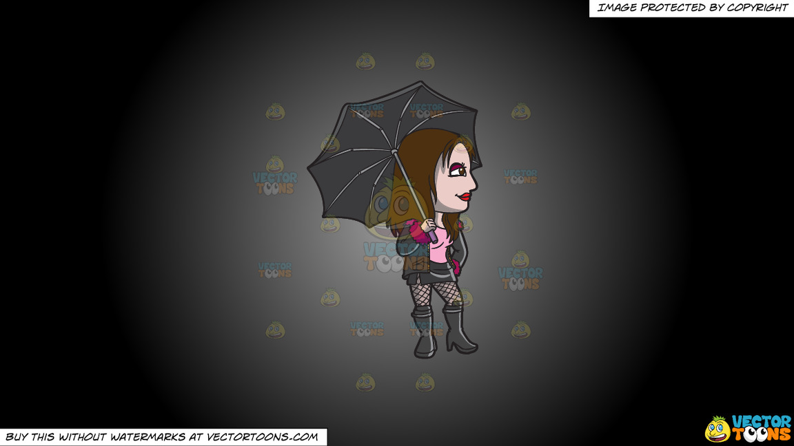 A Goth Prostitute Waiting For A Customer In The Rain On A Grey And Black Gradient Background thumbnail