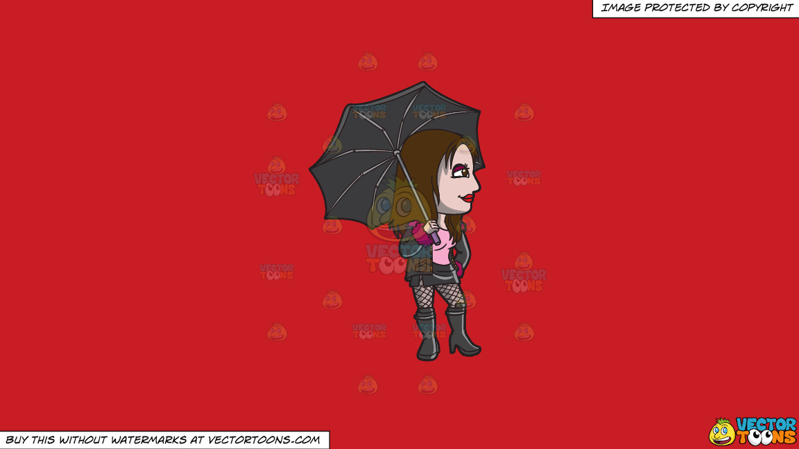 A Goth Prostitute Waiting For A Customer In The Rain On A Solid Fire Engine Red C81d25 Background thumbnail