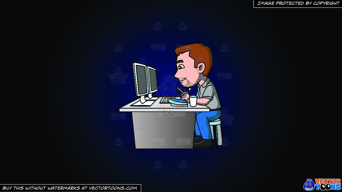 A Graphic Artist Doing A Project On The Computer On A Dark Blue And Black Gradient Background thumbnail