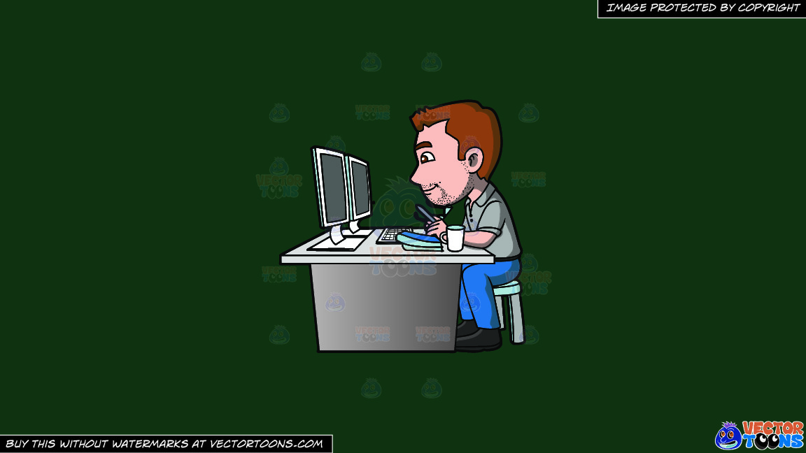 A Graphic Artist Doing A Project On The Computer On A Solid Dark Green 093824 Background thumbnail