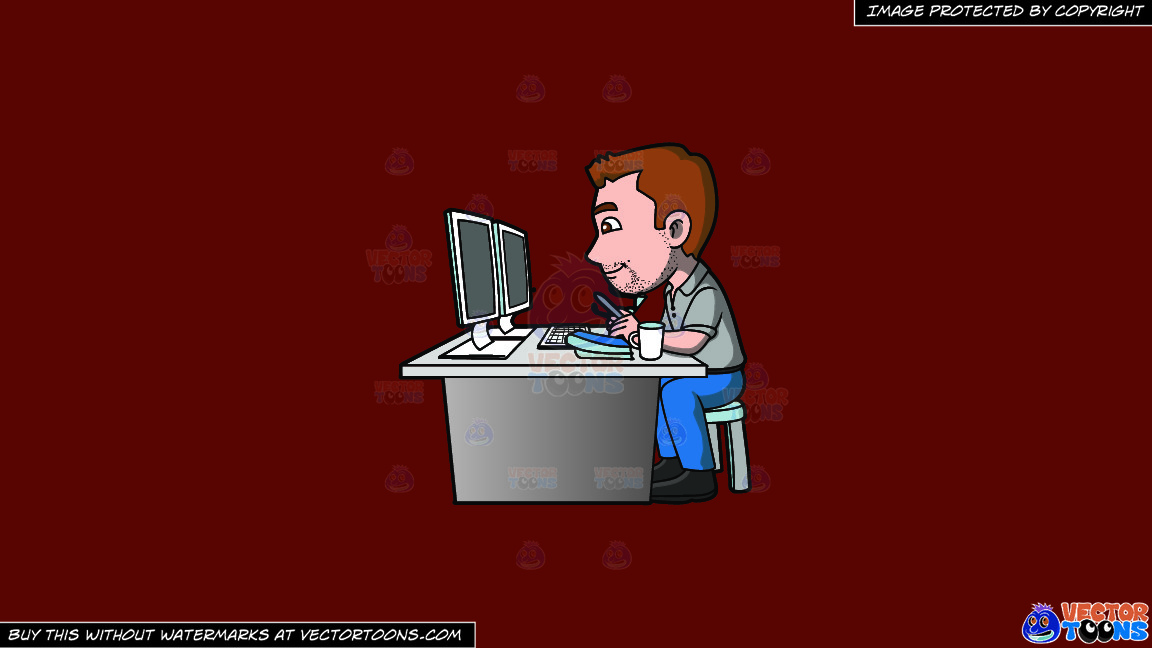 A Graphic Artist Doing A Project On The Computer On A Solid Maroon 69140e Background thumbnail