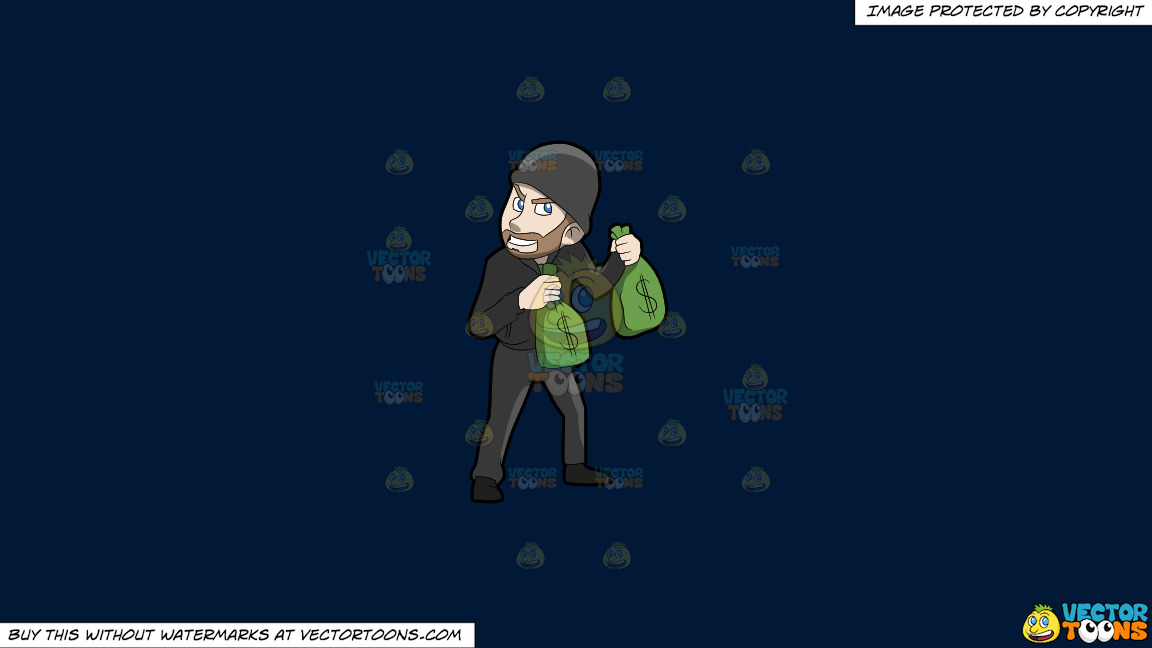 A Greedy Robber Carrying Bags Of Money On A Solid Dark Blue 011936 Background thumbnail