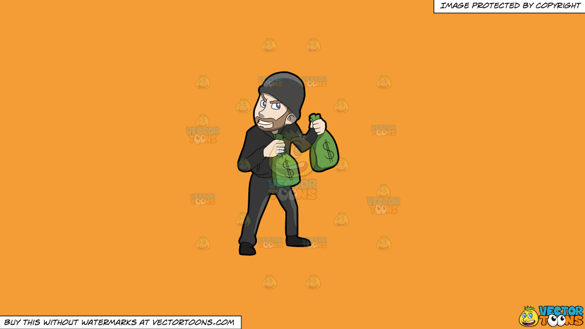 A Greedy Robber Carrying Bags Of Money On A Solid Deep Saffron Gold F49d37 Background thumbnail