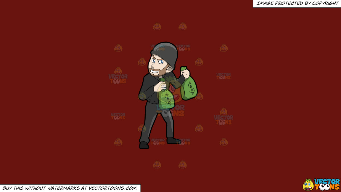 A Greedy Robber Carrying Bags Of Money On A Solid Maroon 69140e Background thumbnail