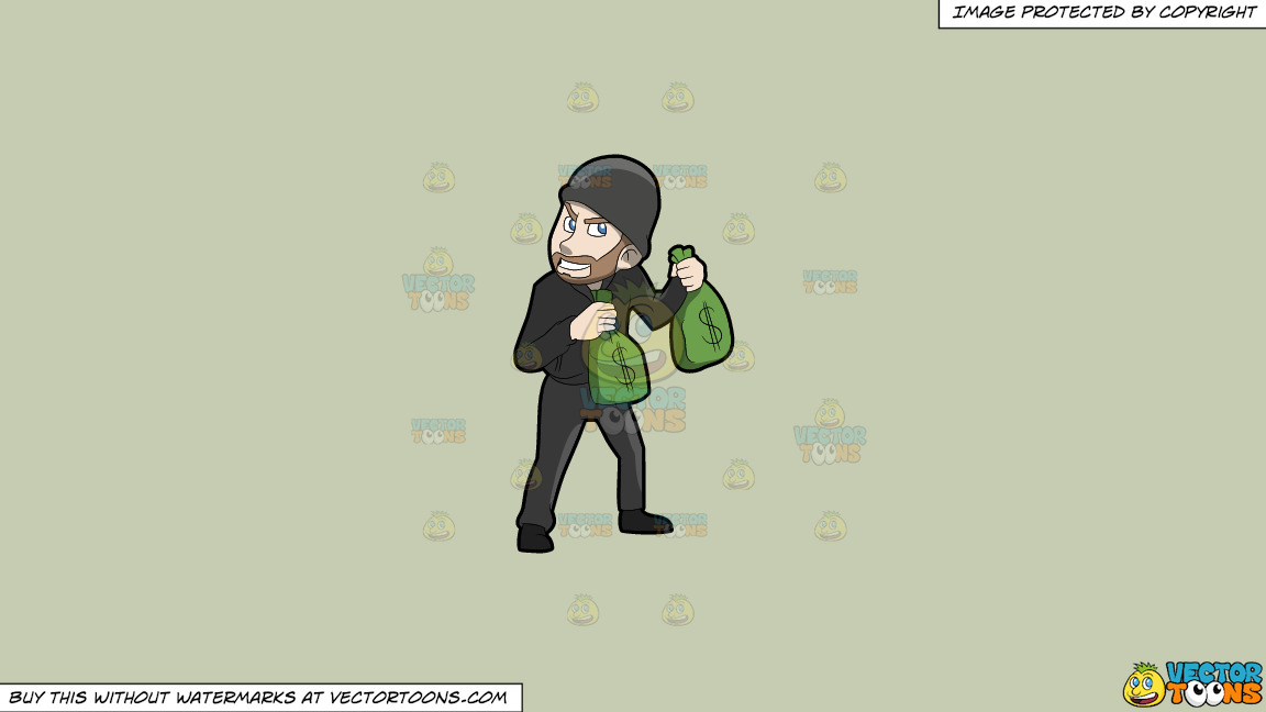 A Greedy Robber Carrying Bags Of Money On A Solid Pale Silver C6ccb2 Background thumbnail