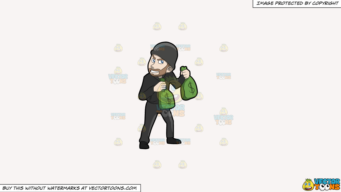 A Greedy Robber Carrying Bags Of Money On A Solid White Smoke F7f4f3 Background thumbnail