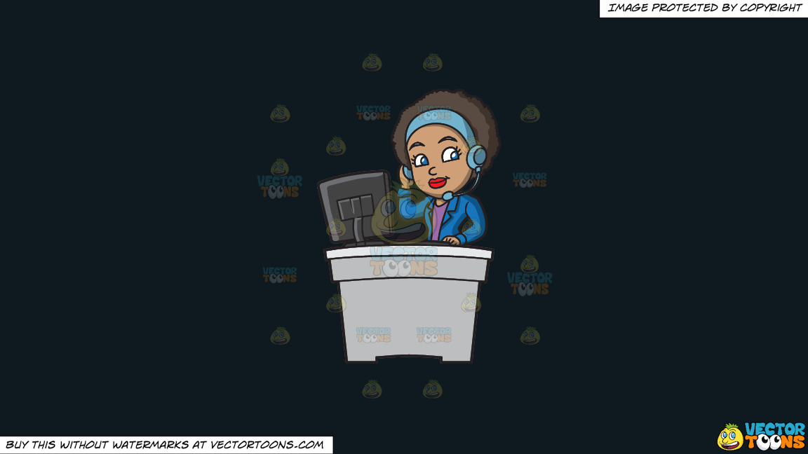 A Groovy Female Call Center Agent On A Solid Off Black 0f1a20 Background thumbnail