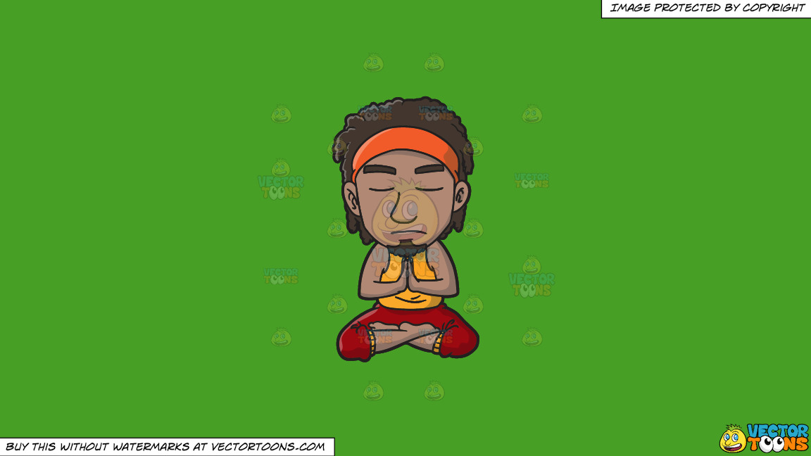A Groovy Man Meditating After A Stressful Day On A Solid Kelly Green 47a025 Background thumbnail