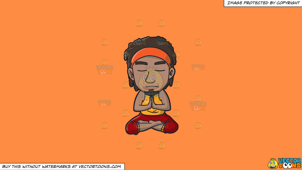 A Groovy Man Meditating After A Stressful Day On A Solid Mango Orange Ff8c42 Background thumbnail