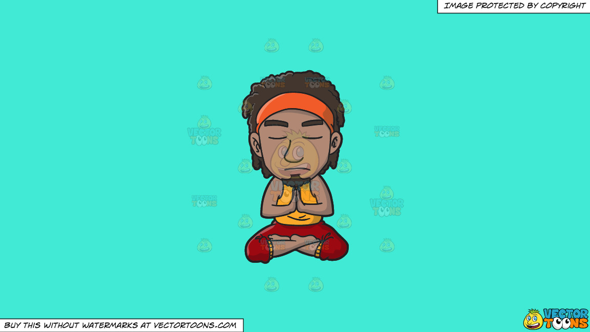 A Groovy Man Meditating After A Stressful Day On A Solid Turquiose 41ead4 Background thumbnail
