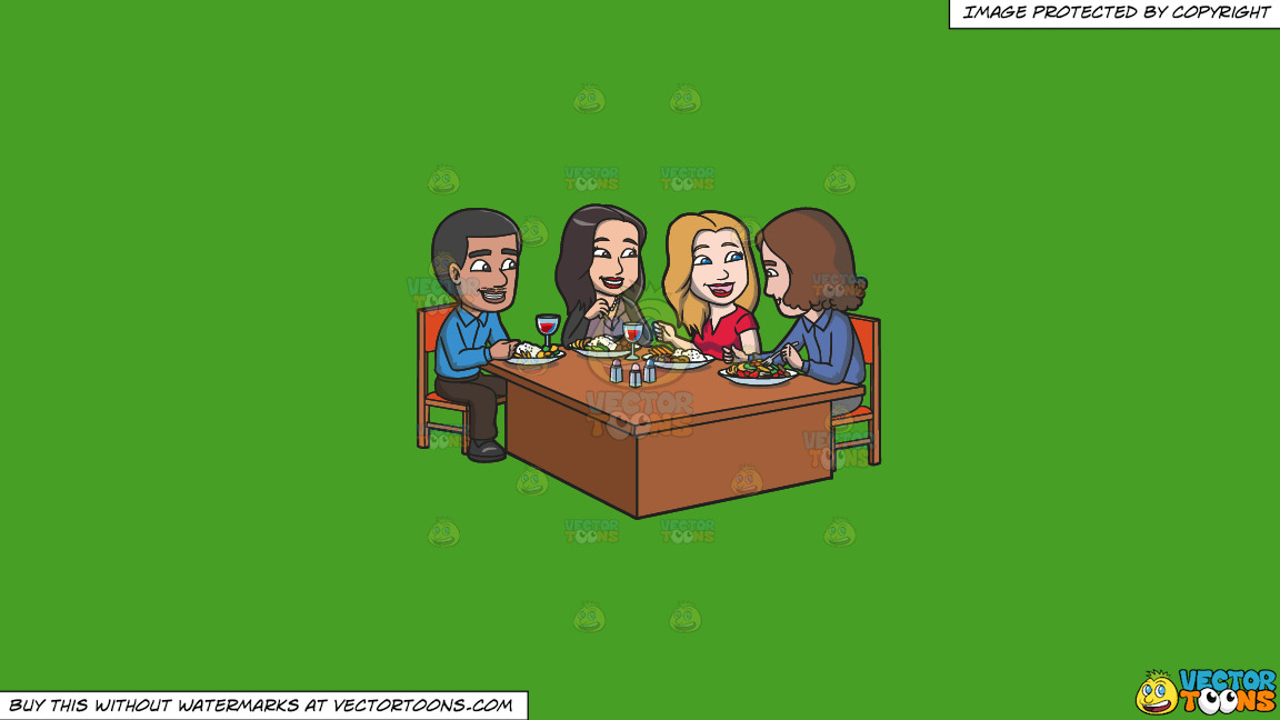 A Group Of Colleagues Grabbing A Hearty Lunch On A Solid Kelly Green 47a025 Background thumbnail