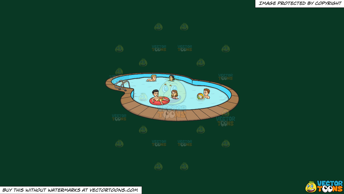 A Group Of Friends Celebrating A Summer Pool Party On A Solid Dark Green 093824 Background thumbnail