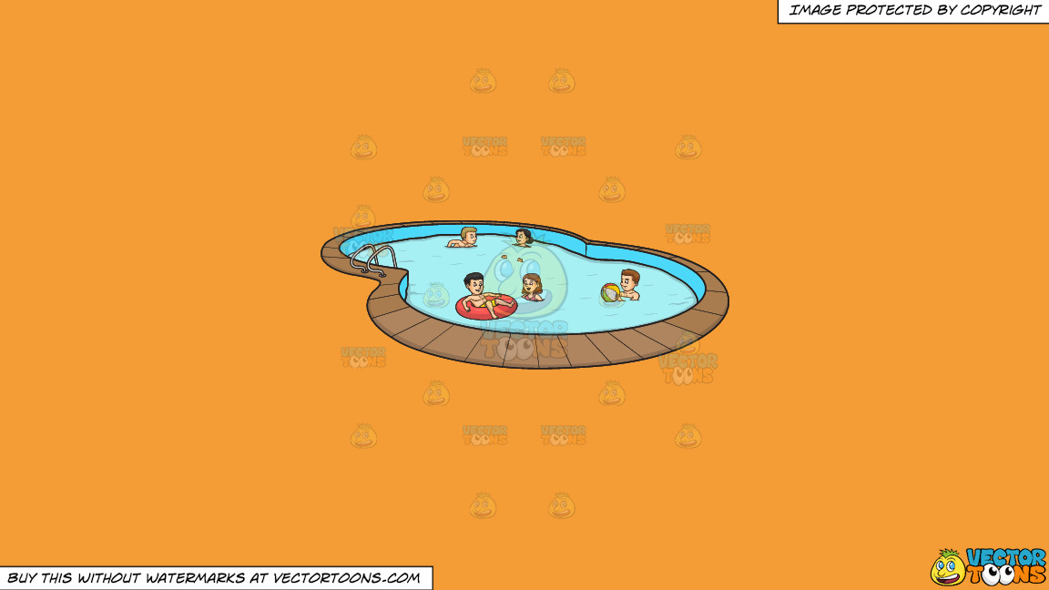 A Group Of Friends Celebrating A Summer Pool Party On A Solid Deep Saffron Gold F49d37 Background thumbnail
