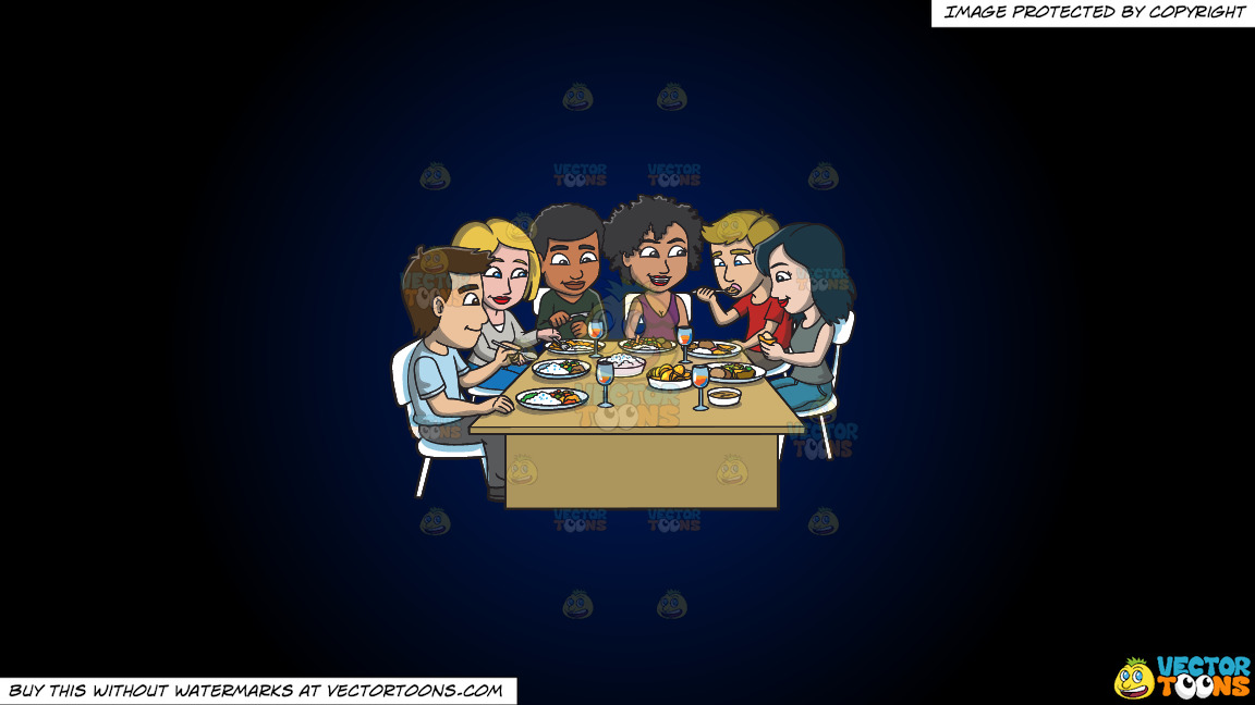 A Group Of Friends Eating Their Favorite Meals On A Dark Blue And Black Gradient Background thumbnail