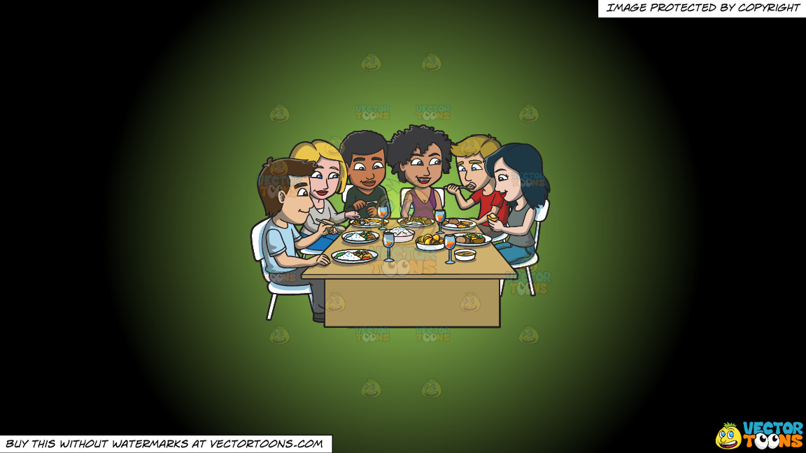 A Group Of Friends Eating Their Favorite Meals On A Green And Black Gradient Background thumbnail