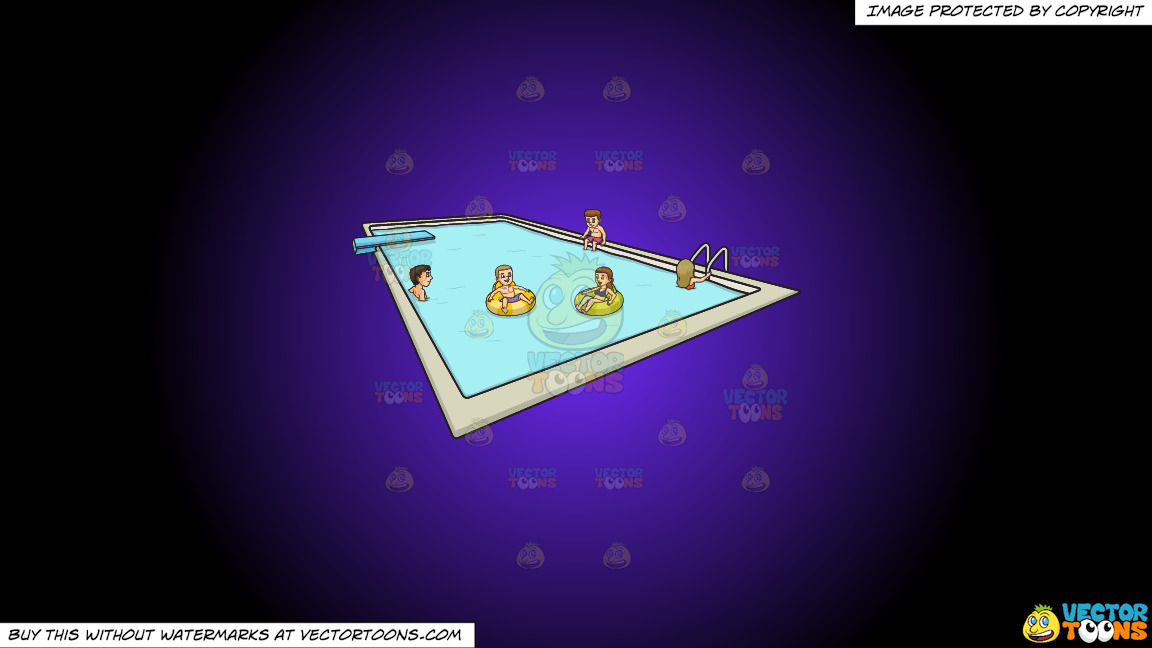 A Group Of Friends Enjoying A Dip In A Pool With Dive Board On A Purple And Black Gradient Background thumbnail