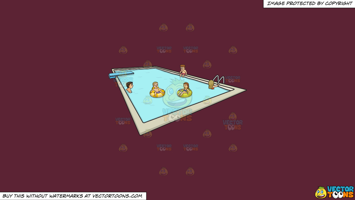 A Group Of Friends Enjoying A Dip In A Pool With Dive Board On A Solid Red Wine 5b2333 Background thumbnail