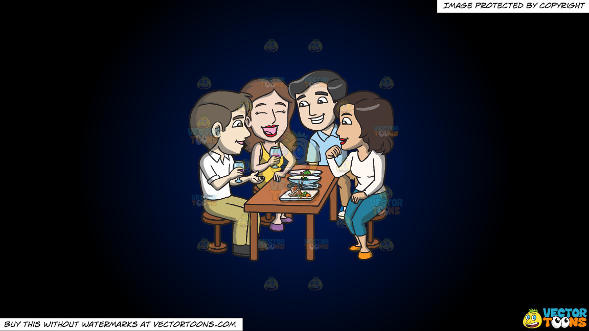 A Group Of Friends Grabbing Drinks And Appetizers Together On A Dark Blue And Black Gradient Background thumbnail