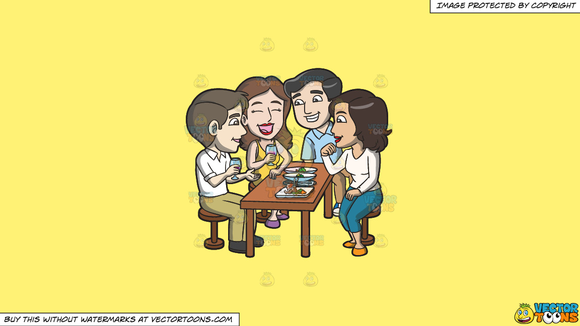 A Group Of Friends Grabbing Drinks And Appetizers Together On A Solid Sunny Yellow Fff275 Background thumbnail