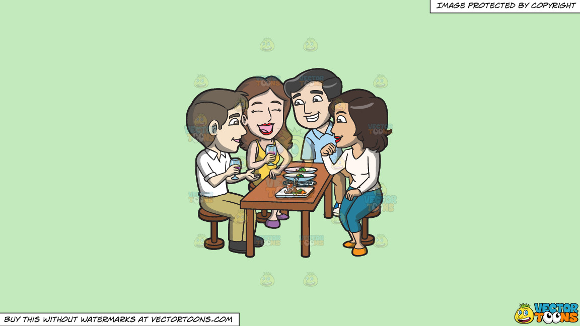 A Group Of Friends Grabbing Drinks And Appetizers Together On A Solid Tea Green C2eabd Background thumbnail