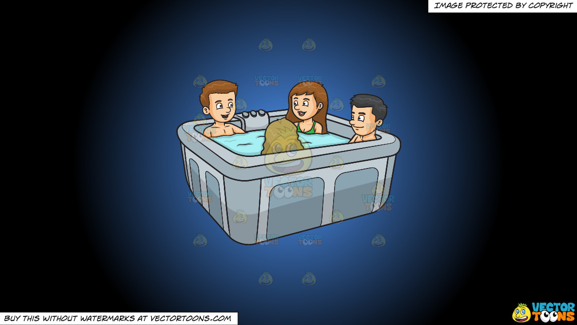 A Group Of Friends In A Hot Tub On A Blue And Black Gradient Background thumbnail