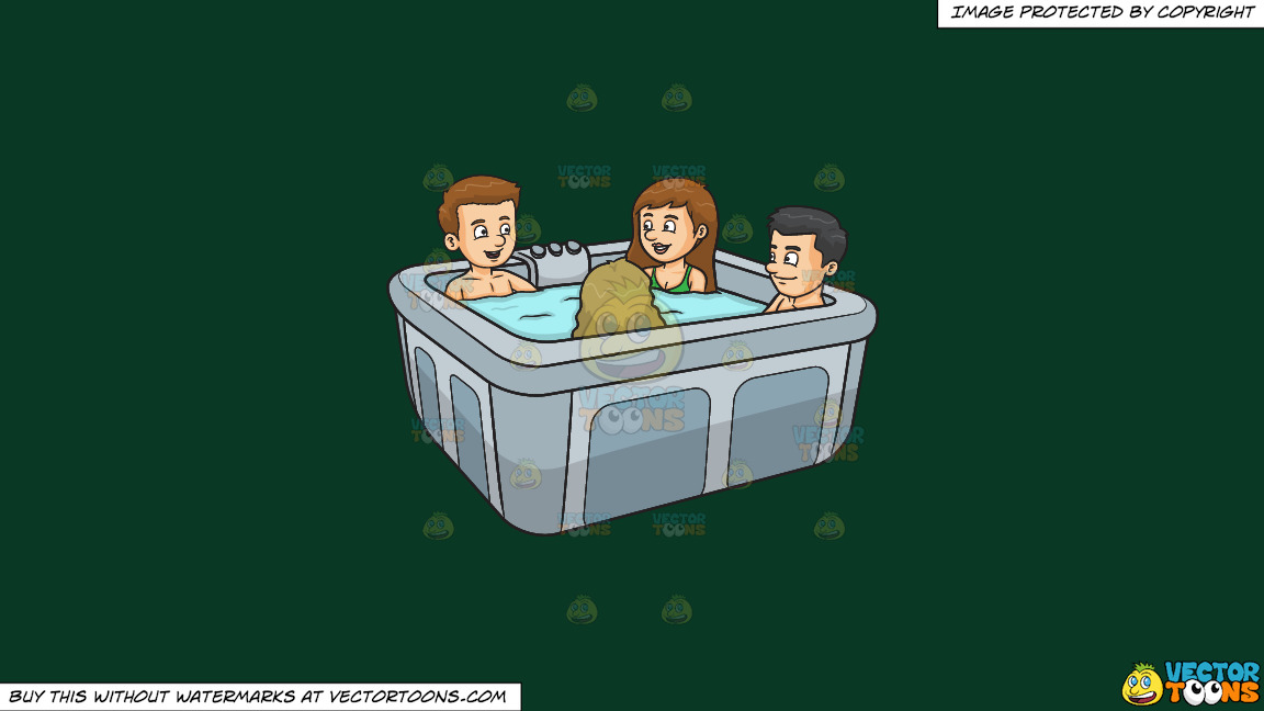 A Group Of Friends In A Hot Tub On A Solid Dark Green 093824 Background thumbnail