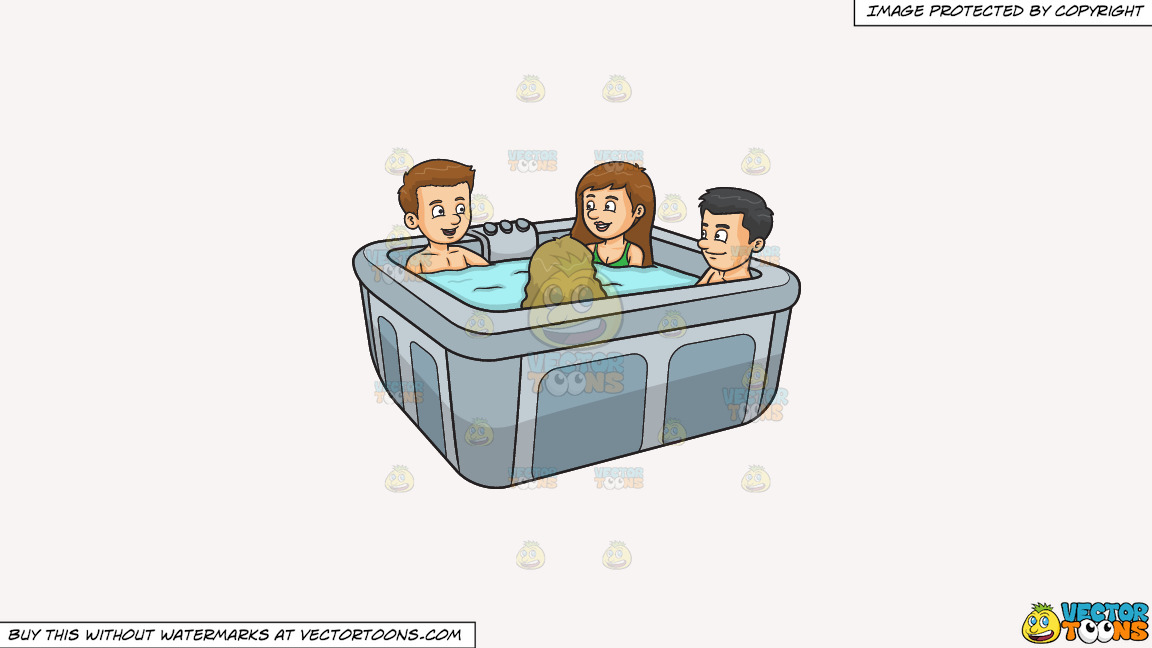 A Group Of Friends In A Hot Tub On A Solid White Smoke F7f4f3 Background thumbnail